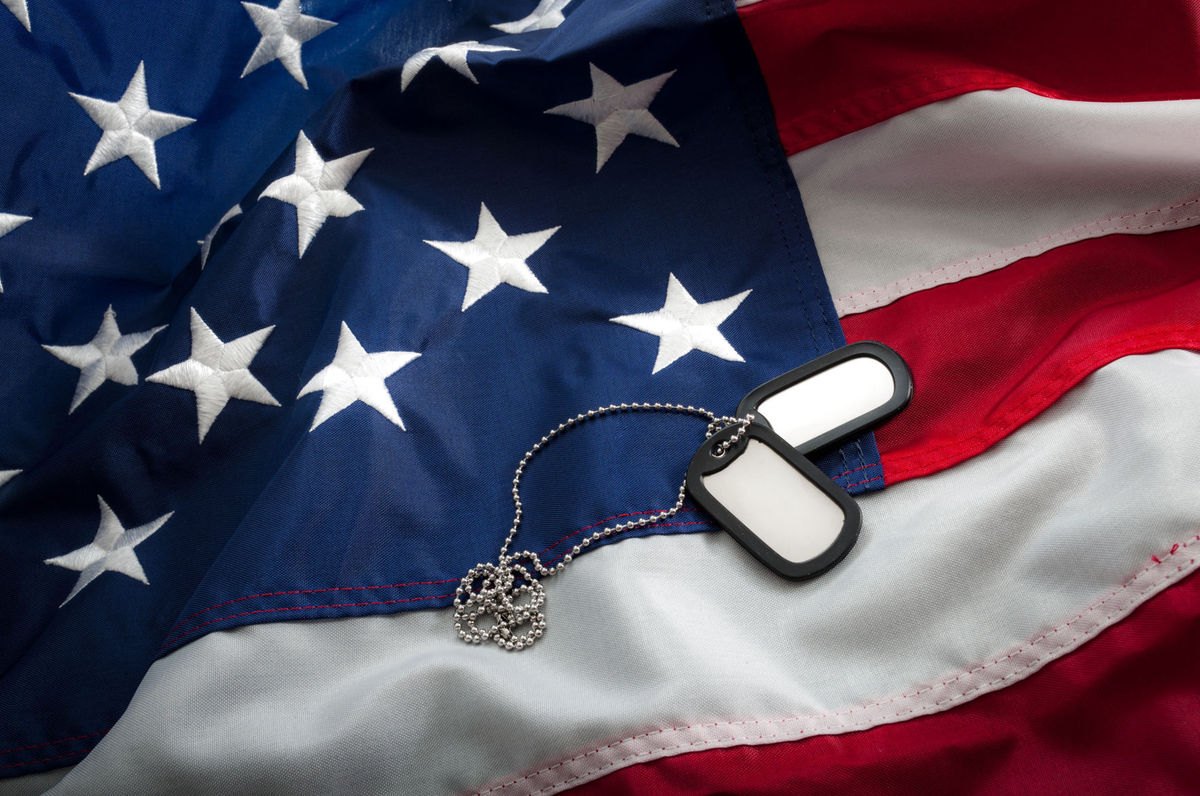 Veterans Day Picture With Dog Tags